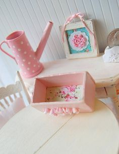 Shabby Chic Pink Dollhouse Miniature Rose Trim Wood Box. $5.99, via Etsy.