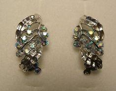 Vintage Coro Signed Silver Tone Blue Rhine stone Clip on Earrings