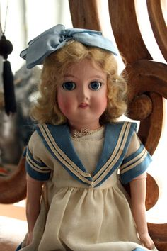 Finnish Martha doll wearing a sailor dress, 1930's.