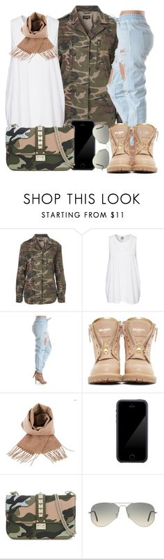 """""""."""" by fashionista-sweets ❤ liked on Polyvore featuring Topshop, Cheap Monday, Balmain, Squair, Valentino and Ray-Ban"""