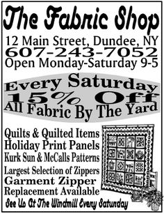 Just down the road from Keuka Lake is the charming village of Dundee, NY with the charming Fabric Shop.