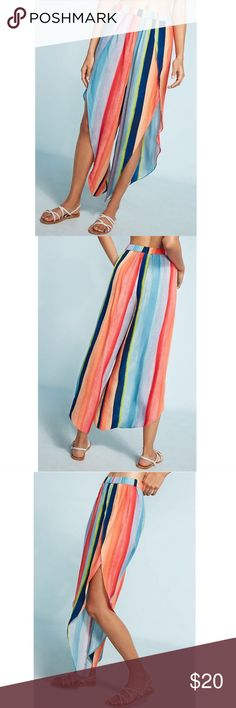 NWT Anthropologie Watercolor Striped Wide-Legs Brand new w/ Tags. Never tried on—still in shipping packaging. In a refurbished warehouse in West Philadelphia, British-born artist Carla Weeks creates new prints and objects born from clever pattern play and a designer's eye for color curation. Colorful stripes reminiscent of island life make a vibrant, getaway-ready pair. Rayon. Wide-leg silhouette. Drawstring waist. Pull-on styling. Anthropologie Pants Wide Leg