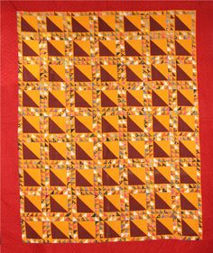 """Lady of the Lake quilt, circa Wisconsin Museum of Quilts and Fiber Arts. """"The key to a great scrap quilt pattern is to have a constant to control the chaos and provide a place to rest one's eyes. Orange Quilt, Yellow Quilts, Colorful Quilts, Old Quilts, Antique Quilts, Vintage Quilts, Amish Quilts, Scrap Quilt Patterns, Half Square Triangle Quilts"""