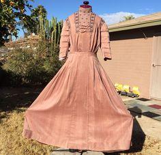Edwardian Era Evening Dress Rosy Brown Pleats Tucks Lace Bows Tiered Sleeves #Handmade
