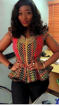 20 Ankara Top Fashion Styles – Visit Ankara Lovers For More - African Fashion Ankara, Latest African Fashion Dresses, African Print Fashion, Africa Fashion, African Attire, African Wear, African Dress, African Blouses, African Tops