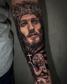 Half Sleeve Tattoo Stencils, Half Sleeve Tattoos For Guys, Half Sleeve Tattoos Designs, Tattoo Designs, Jesus Forearm Tattoo, Lion Forearm Tattoos, Jesus Tattoo, Hunter Tattoo, Christ Tattoo