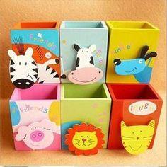 1 Pcs/set Kawaii Cartoon Animal Wooden Pen Holder for School Stationery & Office Supplies Wood Pen Holder, Pencil Holder, Pen Holders, Wood Crafts, Diy And Crafts, Crafts For Kids, Organizer Box, Wooden Brush, Bookshelves Kids