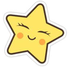 'Kawaii star' Sticker by MheaDesign – Doodles Kawaii Stickers, Star Stickers, Cool Stickers, Printable Stickers, Laptop Stickers, Planner Stickers, Cute Easy Drawings, Cute Kawaii Drawings, Kawaii Art