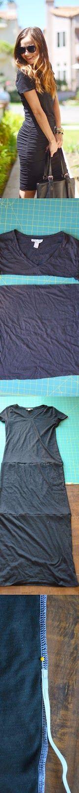 DIY: hacer un vestido fácil con 3 camisetas y un elástico