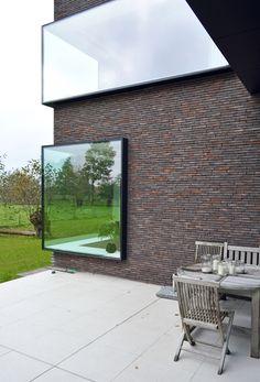 Mooie gevelsteen (Vande Moortel Facing brick linea 3007) Mooie ramen!!!