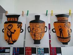 Parnell District School Room Greek Vase (Illustrate a myth about a greek character) Ancient Greek Art, Ancient Greece, Greek Crafts, Greece Art, Greek Mythology Art, 4th Grade Art, Ecole Art, Roman Art, Art Lesson Plans