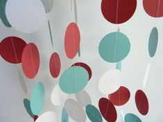 Circus Garland, Party Decorations, Paper Garland, Red, Teal / Aqua, and White Birthday, 10 ft. long on Etsy, $10.00