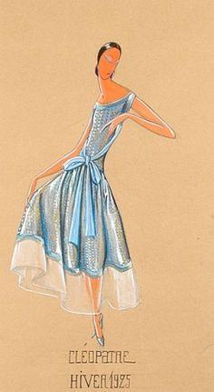 """Paul Iribe  para Jeanne Lanvin Ilustración """"Cleopatra"""" de 1925 Mujer vistiendo un vestido azul de cóctel del gran diseñador."""