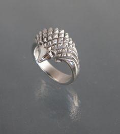 silver hedgehog ring