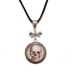 Gothic Skull Glass Cameo Pendant The Black Cat Jewellery ...