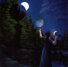 Inspired from an early age artist Robert Gonsalves has been creating these mind bending optical illusion paintings. It's almost as though the viewer has to jump between different worlds within one painting. Rene Magritte, Illusion Kunst, Illusion Art, Optical Illusion Paintings, Optical Illusions, Mc Escher, Canadian Painters, Canadian Artists, Magic Realism