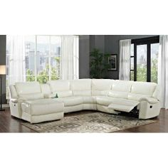 Charming White Leather Match 6 Piece Reclining Sectional