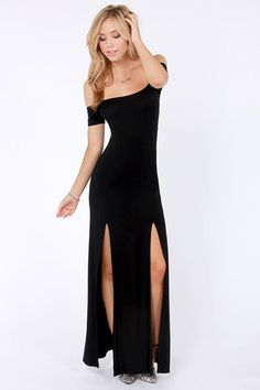 Check it out from Lulus.com! Take the shortcut to cuteness with The Long Way Off-the-Shoulder Black Maxi Dress! This stretchy, jersey knit maxi will have you longing for the floor-length elegance of its curve-hugging silhouette. Short, off-the-shoulder sleeves kick off a paneled shape that follows twin front seams all the way down into double front slits. Unlined. Model is wearing a size small. 94�0Rayon, 6�0Spandex. Hand Wash Cold. Made with Love in the U.S.A.