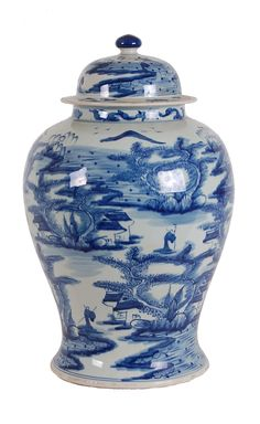 Blue And White Canton Ginger Jar 19 Tall Found On Pink Paa This