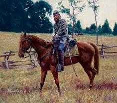 """Stonewall Jackson montando a Little Sorrel"". Artista Mort Kunstler."