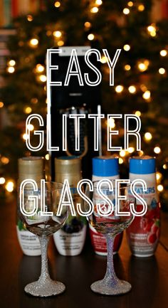 Sparkling water belongs in these DIY Sparkling glasses. Wine glasses encrusted with sparkling glitter make these fun and perfect for ANY holiday! #WaterMadeExciting ad