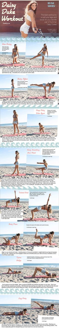 Tone It Up: The Daisy Dukes Summer Workout Gotta save this one for next summer when I won't be pregnant. Perfect workout for pretending I'm Daisy Duke, driving my jeep! Daisy Duke Workout, Tone It Up, Lower Ab Workouts, At Home Workouts, Butt Workouts, Fitness Workouts, Summer Workout Schedule, Diet Schedule, Weekly Schedule