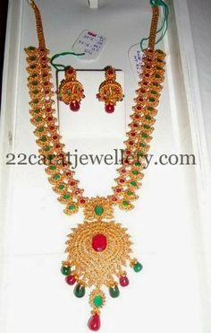 Jewellery Designs: Gold and Polki Two Tone Mango Haram