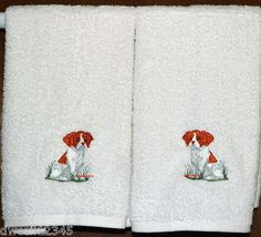 BRITTANY SPANIEL PUPPY - DOG - 2 EMBROIDERED HAND TOWELS by Susan