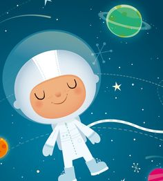 This cute little astronaut floats happily amongst the planets and stars! This print is perfect for a little boys space themed nursery and makes a really cute new baby gift :) This Fine Art giclée archival nursery print is my original illustration and is signed on the reverse.