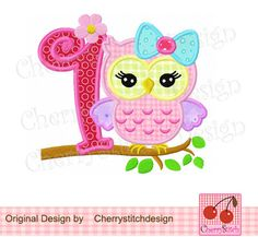 Birthday number 1-girly owl with bow -4x4 5x7 6x10-Machine Embroidery Applique Design
