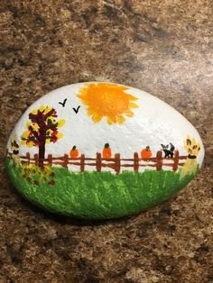 Fall Rock Painting Tutorial: Autumn Tree with Falling Leaves Autumn Painting, Pebble Painting, Love Painting, Pebble Art, Lady Bug Painted Rocks, Painted Rocks Kids, Painted Stones, Rock Painting Ideas Easy, Rock Painting Designs