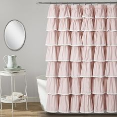 Shop for Lush Decor Lace Ruffle Shower Curtain. Get free delivery On EVERYTHING* Overstock - Your Online Shower Curtains & Accessories Store! Shabby Chic Shower Curtain, Ruffle Shower Curtains, Shower Curtain Rings, Bathroom Kids, Bathroom Colors, French Bathroom, Bathroom Green, Rental Bathroom, Bathroom Closet