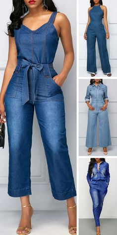 Belted Open Back Denim Blue Pocket Denim Jumpsuit - Jumpsuits and Romper Style Outfits, Classy Outfits, Fashion Outfits, Jumpsuit Outfit, Denim Jumpsuit, Jeans Overall, Jumpsuit Pattern, Business Casual Outfits, African Fashion Dresses