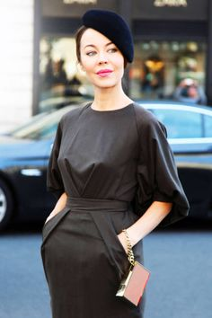 Classic French style - a beret spotted on Ulyana Sergeenko