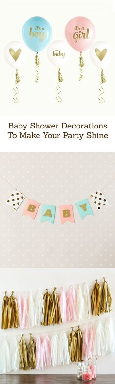 Don't forget the perfect decorations for your baby shower! Find everything from tassels and banners to confetti and balloons!