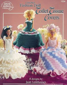 Crochet Fashion Doll Toilet Tissue Covers Crochet Pattern Book, by American School of Needlework Crochet Doll Pattern, Crochet Dolls, Crochet Patterns, Knitting Patterns, Crochet Faces, Crochet Animals, Crochet Ideas, Free Crochet, Crochet Baby