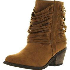 Refresh Womens Makay-03 Faux Suede Shredded Fringe Mid Ankle Cowboy... ($35) ❤ liked on Polyvore featuring shoes, boots, ankle booties, beige, beige ankle booties, cowboy style boots, fringe western boots, faux suede fringe boots and western boots