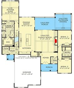 Split Bedroom House Plan with Upstairs Expansion - floor plan - Main Level Ranch House Plans, Bedroom House Plans, Best House Plans, Dream House Plans, Small House Plans, Architectural Design House Plans, Architecture Design, Landscape Architecture, Detached Garage