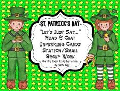 Do you need some new material for your literacy stations.  Here is a cute and fun activity for practicing inferring.(fiction)If you would like non-fiction practice, visit my TPT store.Kids just can't get enough practice with this skill.  You will get 20 inferring cards with Lucy and Lucky Leprechaun as the stars.