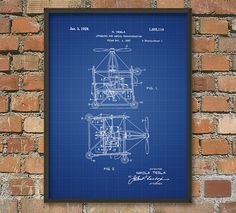 Tesla Flying Machine Patent Wall Art Poster by QuantumPrints