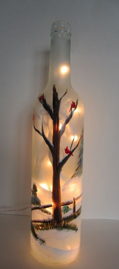 Winter Tree with Cardinals Lighted Wine von EverythingPainted