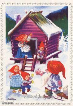 Tradera ᐈ Köp & sälj begagnat & second hand Nordic Christmas, Vintage Christmas, Christmas Cards, Troll, Mythological Creatures, Winter Solstice, Vintage Greeting Cards, Fairy Land, Illustrations