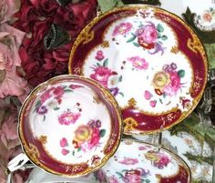 PARAGON YELLOW RUBY VICTORIAN PINK ROSE FLORETS ENGLAND TEA CUP AND SAUCER SET