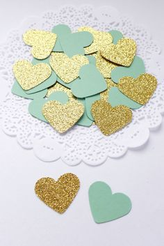 Mint Green and Gold confetti by AthenasCraftRoom  #Etsy #handmade #partydecoration #mint