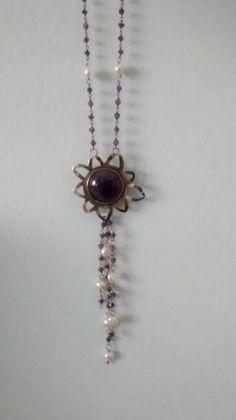 Amatista + perlas