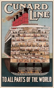 A famous poster of RMS Aquitania shows a cut-away of the ship, revealing its luxurious interior. Cunard Line. Retro Poster, Vintage Travel Posters, Johann Wolfgang Von Goethe, Vintage Nautical, Advertising Poster, Wanderlust, Great Britain, Vintage Advertisements, Ocean
