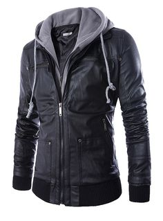 Fvogue Top Selling Amazing Handsome Pockets PU Hoody Jacket----$45.99