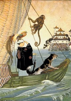 Illustration by Milo Winter for the book 'The Wonder Garden'. 'Away! Away! It sped Over the Waves'