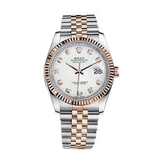 Rolex Datejust 36 116231 Rose Gold & Stainless Steel Watch (White Set with Diamonds)
