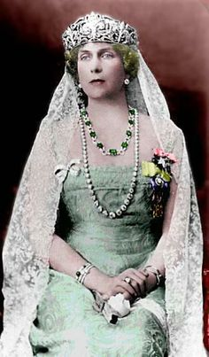 Queen Victoria Eugenia (Ena) consort of King Alfonso XIII of Spain & grandmother of King Juan Carlos. Wearing the Fleur de Lys Tiara, a wedding gift she wore throughout her life. Royal Crown Jewels, Royal Crowns, Royal Tiaras, Royal Jewelry, Tiaras And Crowns, Jewels 3, Spanish Royalty, Estilo Real, Spanish Royal Family